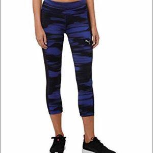 Puma Blur Capri Legging Size Medium Blue and Black